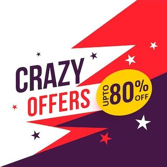 Crazy aanbieding-verkoopbanner met kortingsdetails