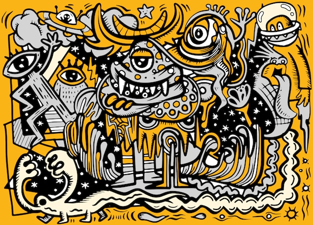 Crazy abstract doodle social, doodle tekenstijl.