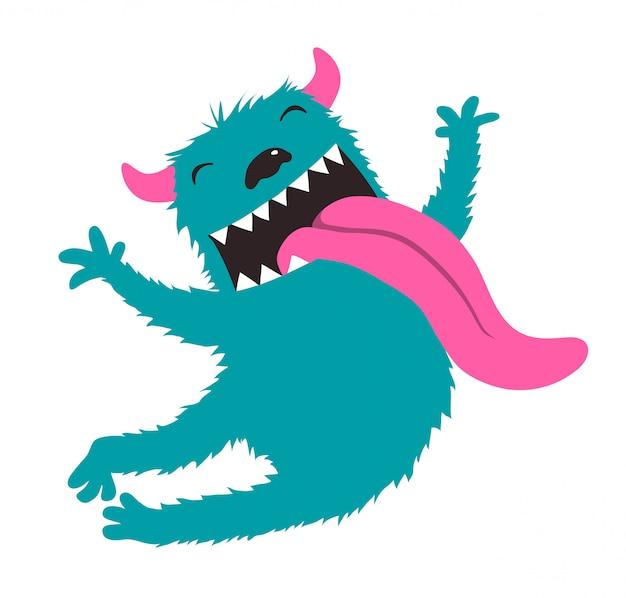 Crazy character jumping monster voor kinderen ontwerp