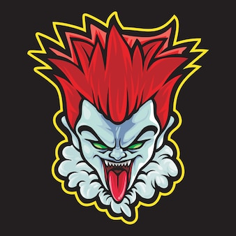 Crazy clown esport logo afbeelding