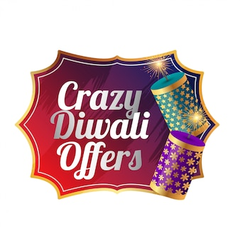 Crazy diwali verkoop sjabloonontwerp met cracker