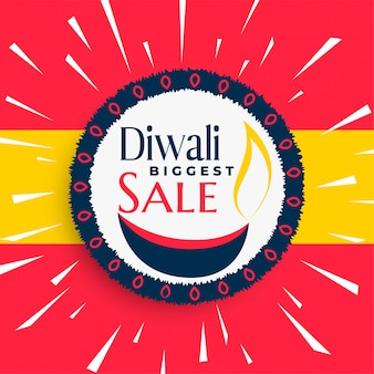 Crazy happy diwali verkoop banner met stralen burst