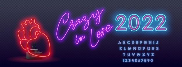 Crazy in love neon signs style text. neon hartsymbool. illustratie in neonstijl