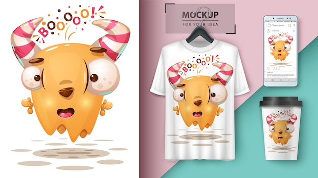 Crazy monster illustratie voor cup, t-shirt en smartphone behang