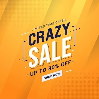 Crazy sale banner korting promotie vectorafbeelding