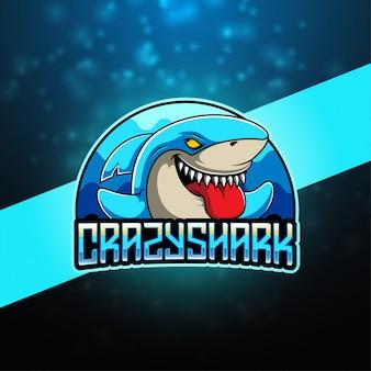 Crazy shark esport mascotte logo