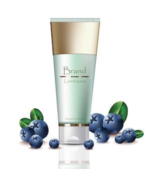 Cream cosmetics realistische mock up set collectie. blueberry extract producten