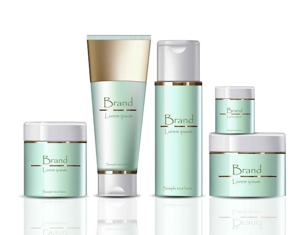 Cream cosmetics realistische mock-up set-collectie. zachte extractproducten