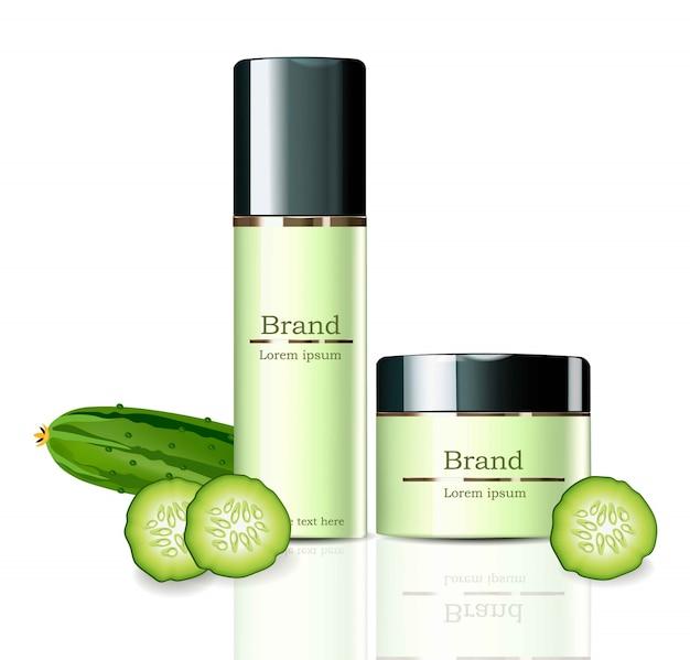 Cream cosmetics realistische mock up set collectie