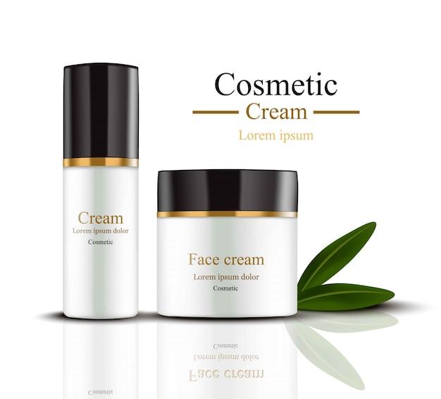 Cream cosmetics set collectie realistische mock up. hydratatiecrème met logo's
