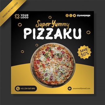 Creartive pizza menu promotie social media post vetor