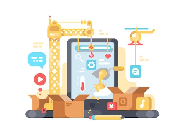 Creatie en ontwikkeling van app. web en programmeren. illustratie