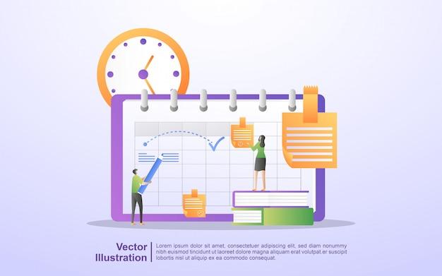 Creatie persoonlijk studieplan, planning van bedrijfstijd, evenementen en nieuws, herinnering en planning.