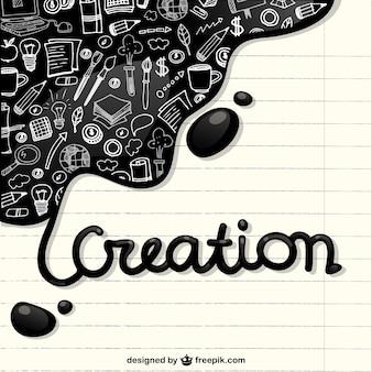 Creatie pictogrammen in een notebook papier