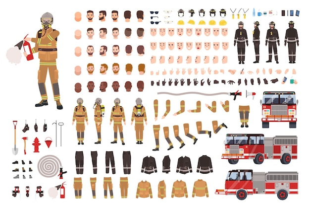 Creatie set voor brandweerlieden of bouwpakket.