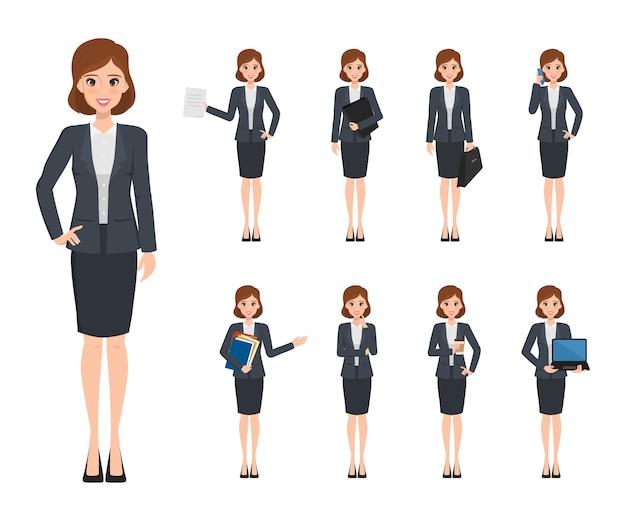 Creatie van het bedrijfsvrouwenkarakter in bureaustijl.