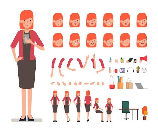 Creatie van het bedrijfsvrouwenkarakter voor animatie.