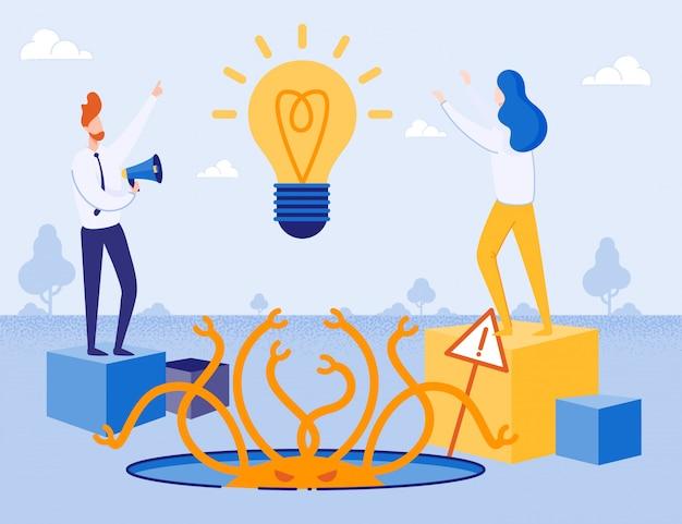 Creatie van nieuwe ideeën en bedrijfsrisico's metafoor