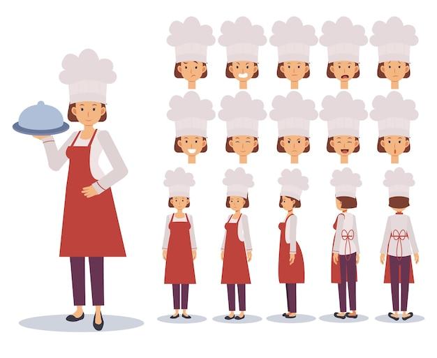 Creatie van vrouwelijke chef-kok flat character set met verschillende weergaven