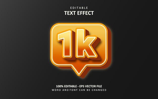 Creatief 1k volger teksteffect