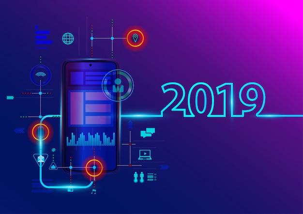 Creatief 2019 nieuw jaar met mobiele telefoon