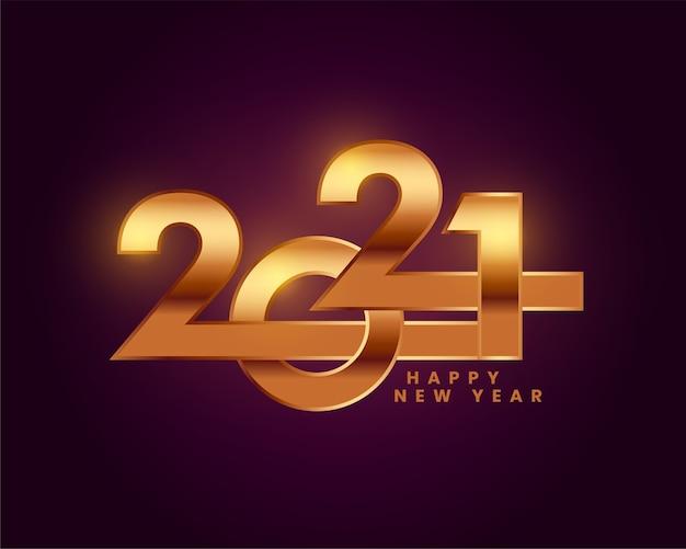 Creatief 2021 gelukkig nieuwjaar gouden ontwerp als achtergrond