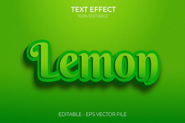 Creatief 3d modern bewerkbaar vet word citroen teksteffect tekststijl premium vector