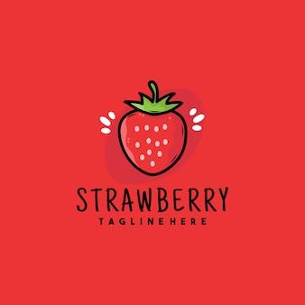 Creatief aardbei illustratie logo ontwerp