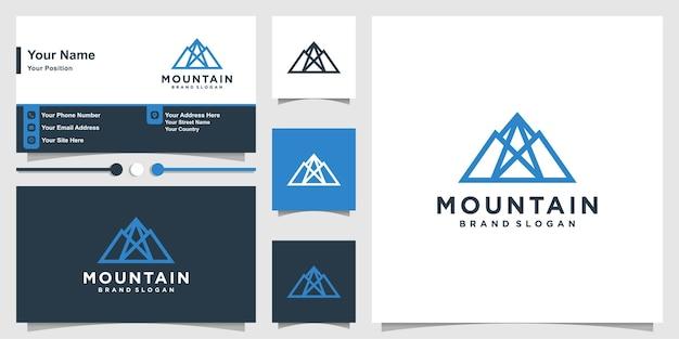 Creatief abstract berglogo met modern concept en visitekaartjeontwerp premium vector