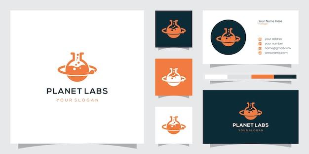 Creatief abstract logo-ontwerp en visitekaartje van het arbeidslaboratorium van de planeetbaan