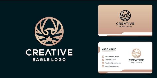 Creatief adelaarslogo-ontwerp met monoline-stijl en visitekaartje Premium Vector