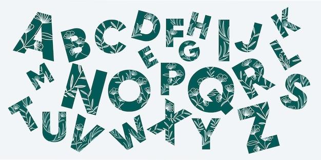 Creatief alfabet met bloemenconcept