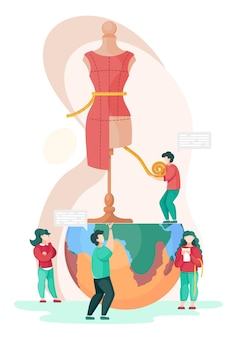 Creatief atelier. een team van naaisters werkt aan een model van een nieuwe jurk.