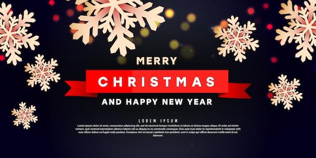 Creatief bannermalplaatje met driedimensionale vormen van kerstmissneeuwvlokken en tekst op een donkere achtergrond