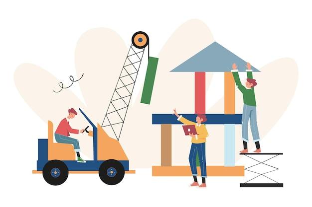 Creatief bedrijf houdt zich bezig met gezamenlijke constructie, waardoor een carrière tot succes wordt gebracht