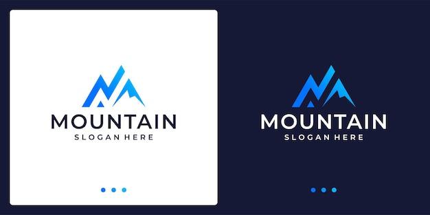 Creatief berglogo met lijn. symbool voor moderne marketing, analytisch. premium vector