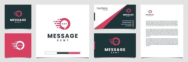 Creatief bericht verzonden logo concept inspiratie. logo visitekaartje en briefhoofd