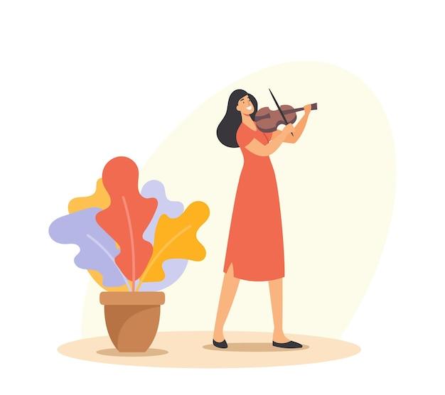 Creatief beroep, instrumentale live-entertainment. muzikant vrouwelijk personage viool spelen. meisje in rode jurk met snaarinstrument voert klassiek muziekconcert uit. cartoon vectorillustratie