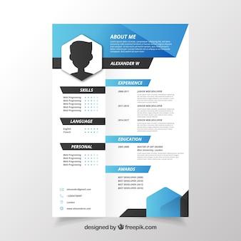 Creatief blauw en wit cv-concept