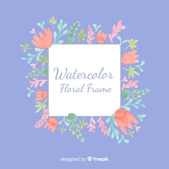 Creatief bloemenkader in waterverfontwerp