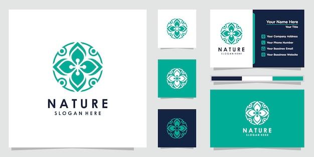 Creatief bloemlogo-ontwerp en visitekaartje logo
