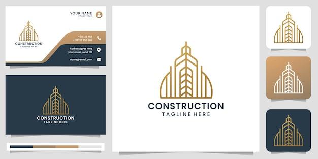 Creatief bouwlogo met minimalistisch lijnstijlontwerp. logo en visitekaartjesjabloon.