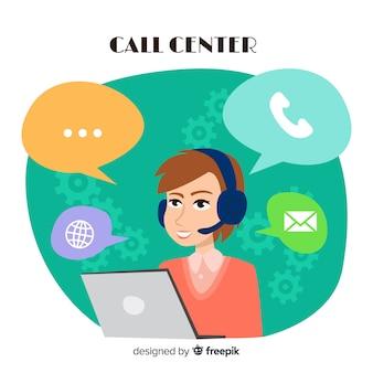 Creatief call centreconcept in vlak ontwerp