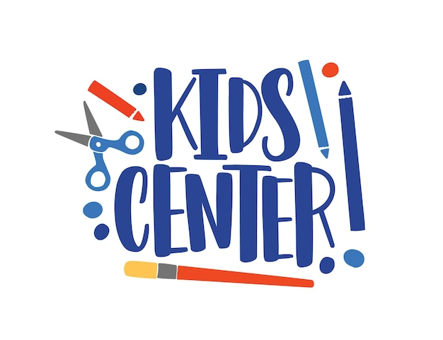 Creatief centrum platte vector logo. kinderen ontwikkelingsstudio typografie samenstelling. kunst lessen concept