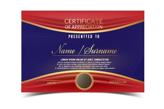 Creatief certificaat sjabloon voor afronding award met gouden vormen en badge.clean en modern voor diploma, officiële of verschillende prijzen. vector illustratie