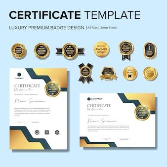 Creatief certificaatsjabloon met badge-sjabloon