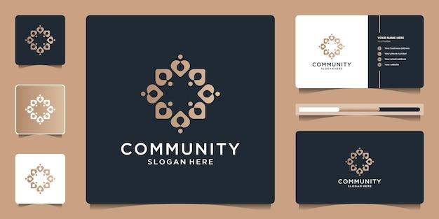 Creatief community-logo-ontwerp en visitekaartje voor sociale groep