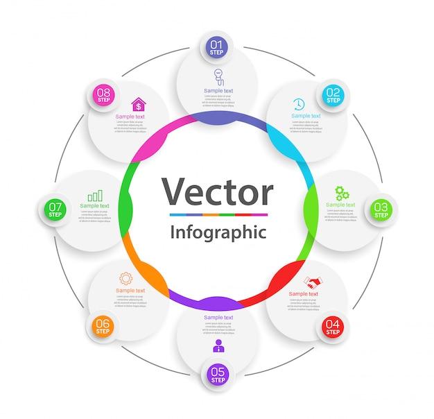 Creatief concept voor infographic diagram met 8 stappen