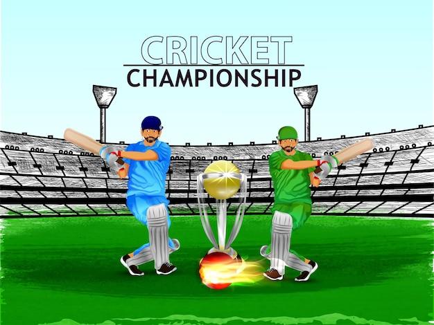 Creatief cricketkampioenschap met cricketer en trofee