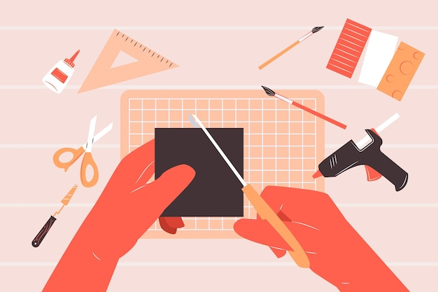 Creatief de workshopconcept van diy met handen die schaarillustratie gebruiken